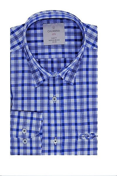 CAVANNA CHECK SHIRT BLUE