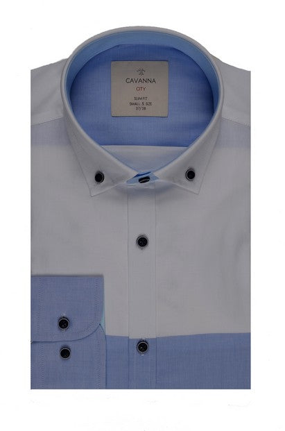 CAVANNA 17028 2 TONAL BLOCK STRIPE SHIRT BLUE