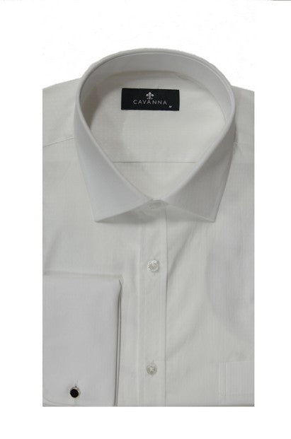 CAVANNA 9125-2 JACQUARD FRENCH CUFF CITY SHIRT WHITE