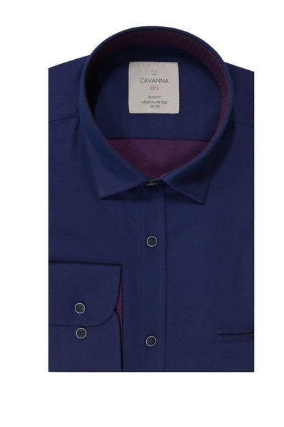 CAVANNA 17254 JACQUARD SHIRTS BLUE