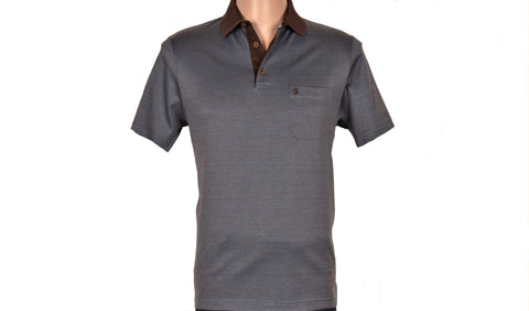 SABRI OZEL SHORT SLEEVE POLO TOP BLUE