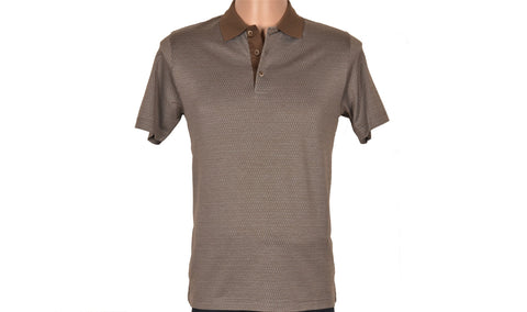 SABRI OZEL SHORT SLEEVE POLO TOP BROWN
