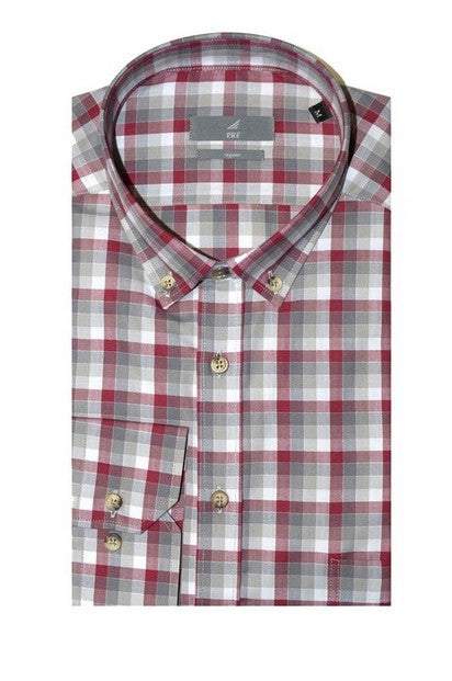 PERFETTO 8244 CHECK SHIRT BORDO