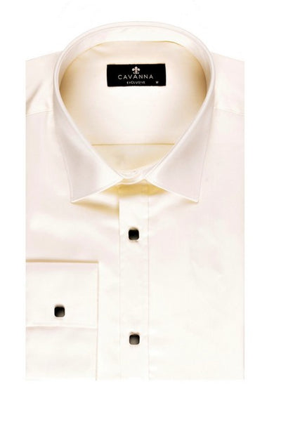 CAVANNA PRESS STUD CITY SHIRT CREAM