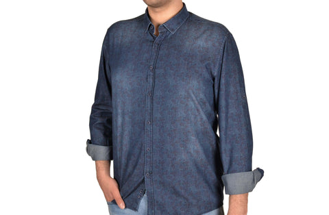 CAVANNA 17310 PRINTED CHAMBRAY SHIRT BLUE
