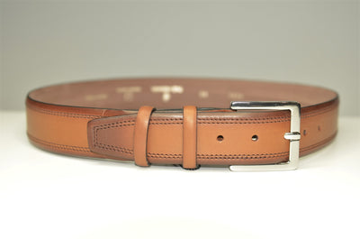 P&S MICHAEL 38MM LEATHER BELT TOBACCO