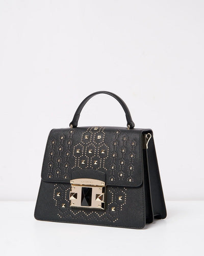 Cromia 1403883 It Punky Studded Top Handle Bag BLACK