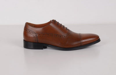 FLORSHEIM MARRIOT 5 HOLE TOE CAP SHOE BROWN