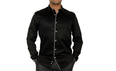 CAVANNA CITY SHIRT WITH PIPING TRIM BLACK