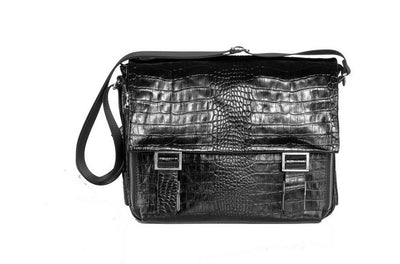 Bond Print Leather Messenger Bag BLACK