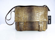 Bond Print Leather Messenger Bag MOCCA