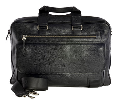 Bond Top Handle Leather Briefcase BLACK