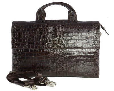 Bellucci Print Leather Bag BROWN