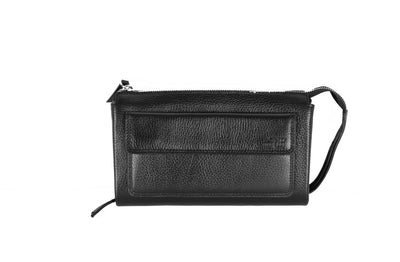 BOND LEATHER CLUTCH BAG BLACK