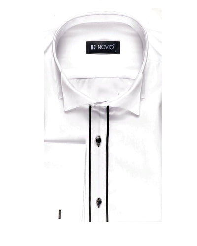 CAVANNA PLEATED WING COLLAR SHIRT WHITE