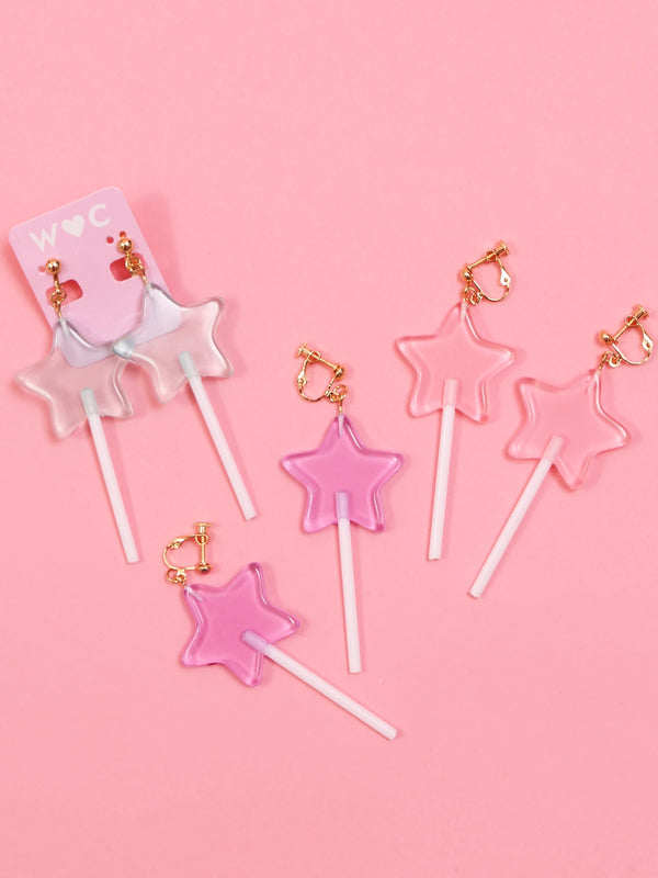 W❤️C lollipop star earrings