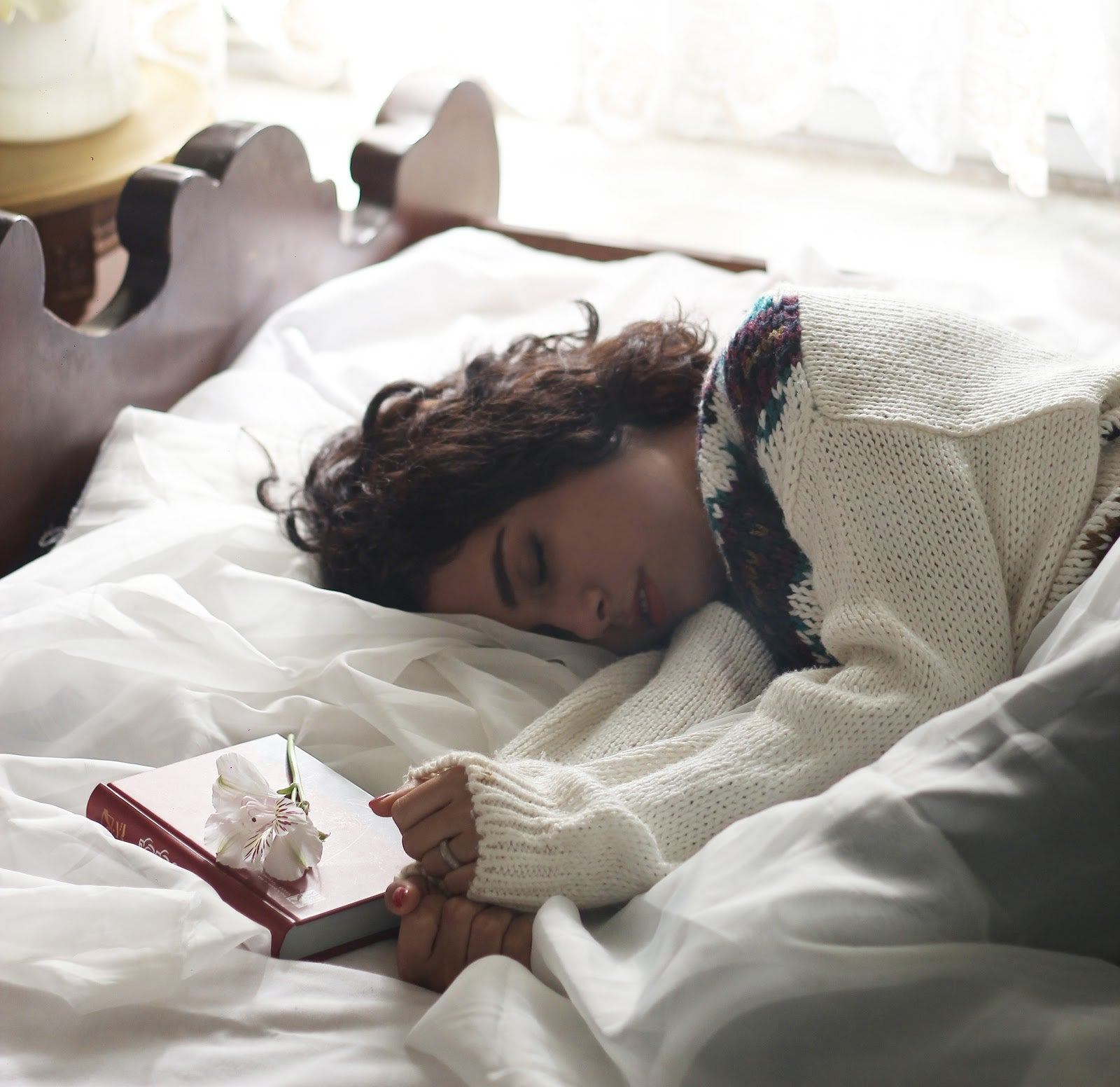 Boost Your Immune System  Woman In Bed Asleep With Book