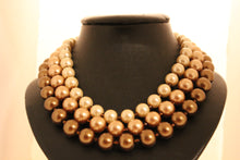 Load image into Gallery viewer, Triple strand chocolate pearl necklace