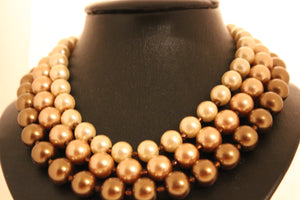 Triple strand chocolate pearl necklace