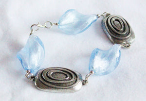 Twisted sky blue pewter bracelet