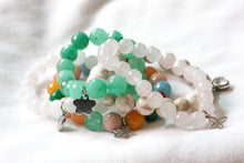 Load image into Gallery viewer, Rainbow jade gemstone charm bracelet - stainless steel charms