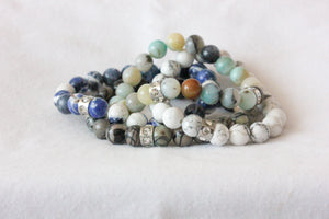 Multicolour amazonite charm bracelet - stainless steel rondelle crystal