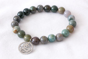 Fancy jasper charm bracelet - dragon