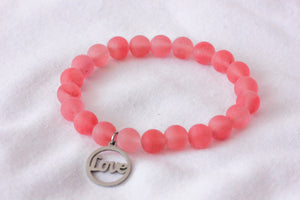 Cherry quartz charm bracelet - love