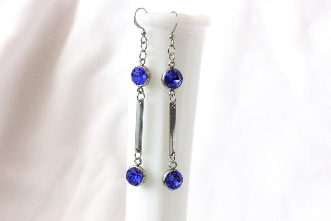 Stainless steel dangle earrings - cobalt blue