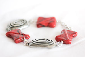 Red ceramic twist bracelet