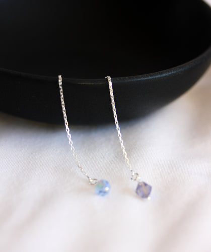 Sterling silver thread earrings with blue and lilac crystals