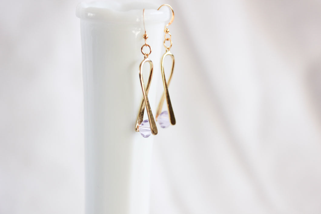 'A little bent' earrings - gold with pale lilac crystal