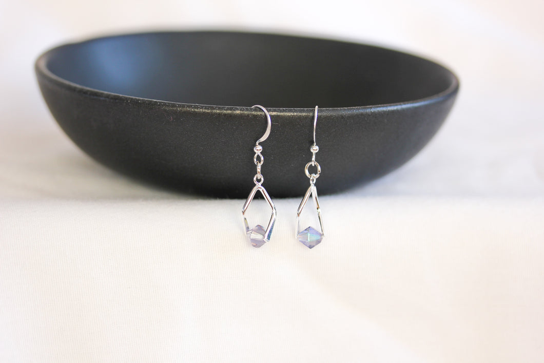 Mini twisted angle earrings - silver with AB light blue crystals