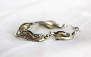 Pewter and glass twist bracelet