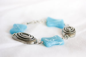 Sky blue ceramic twist bracelet