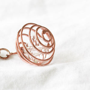 Rose gold and copper spiral earrings