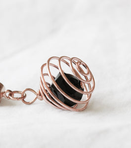 Rose gold and copper crystal  pendant