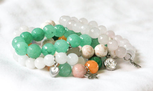 Gemstone charm bracelets - stainless steel charms