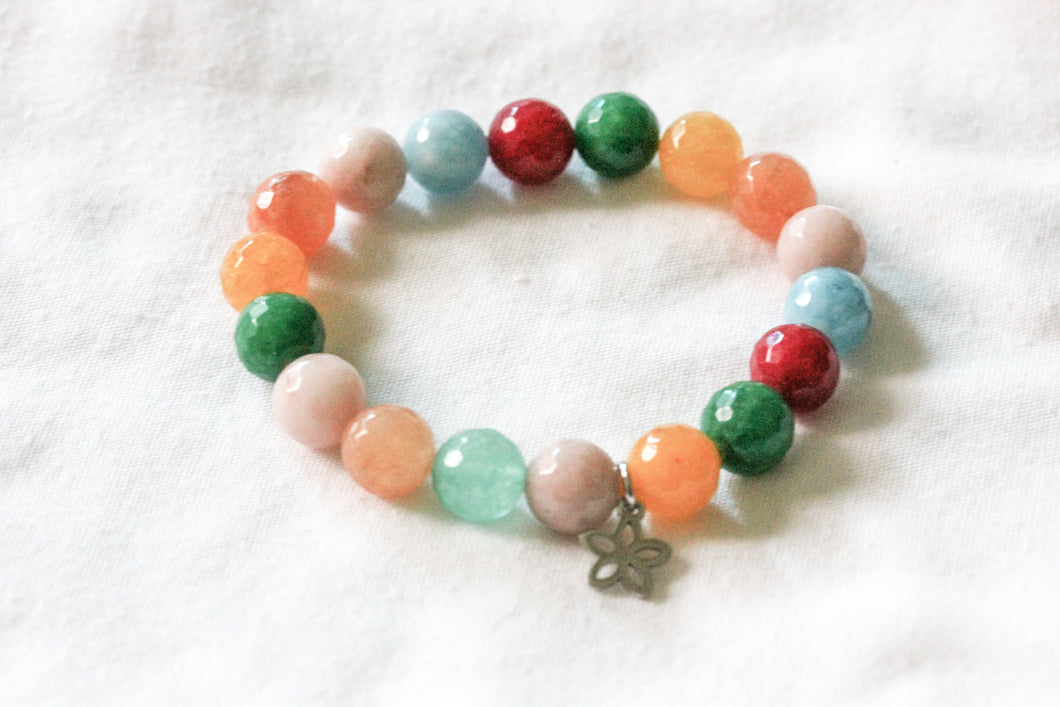 Rainbow jade gemstone charm bracelet - stainless steel charms