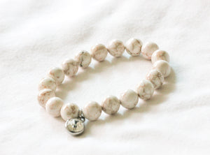 White turquoise gemstone charm bracelet - stainless steel charms