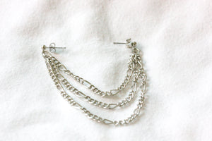 Double piercing chain earrings - silver plated