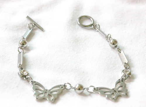 Butterfly crystal stainless steel bracelet