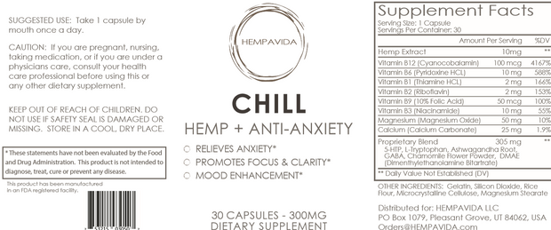 CHILL: HEMP + Anti-Anxiety