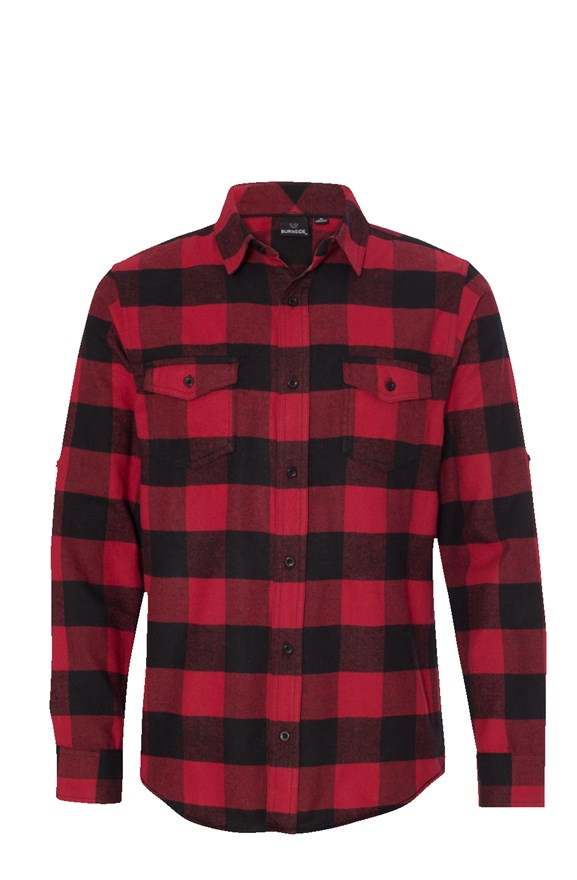Men's Long Sleeve Flannel Red And Black