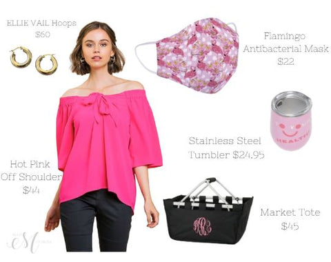 Hot Pink Off the Shoulder Top for Women Summer Favorites Women's Off the Shoulder Top
