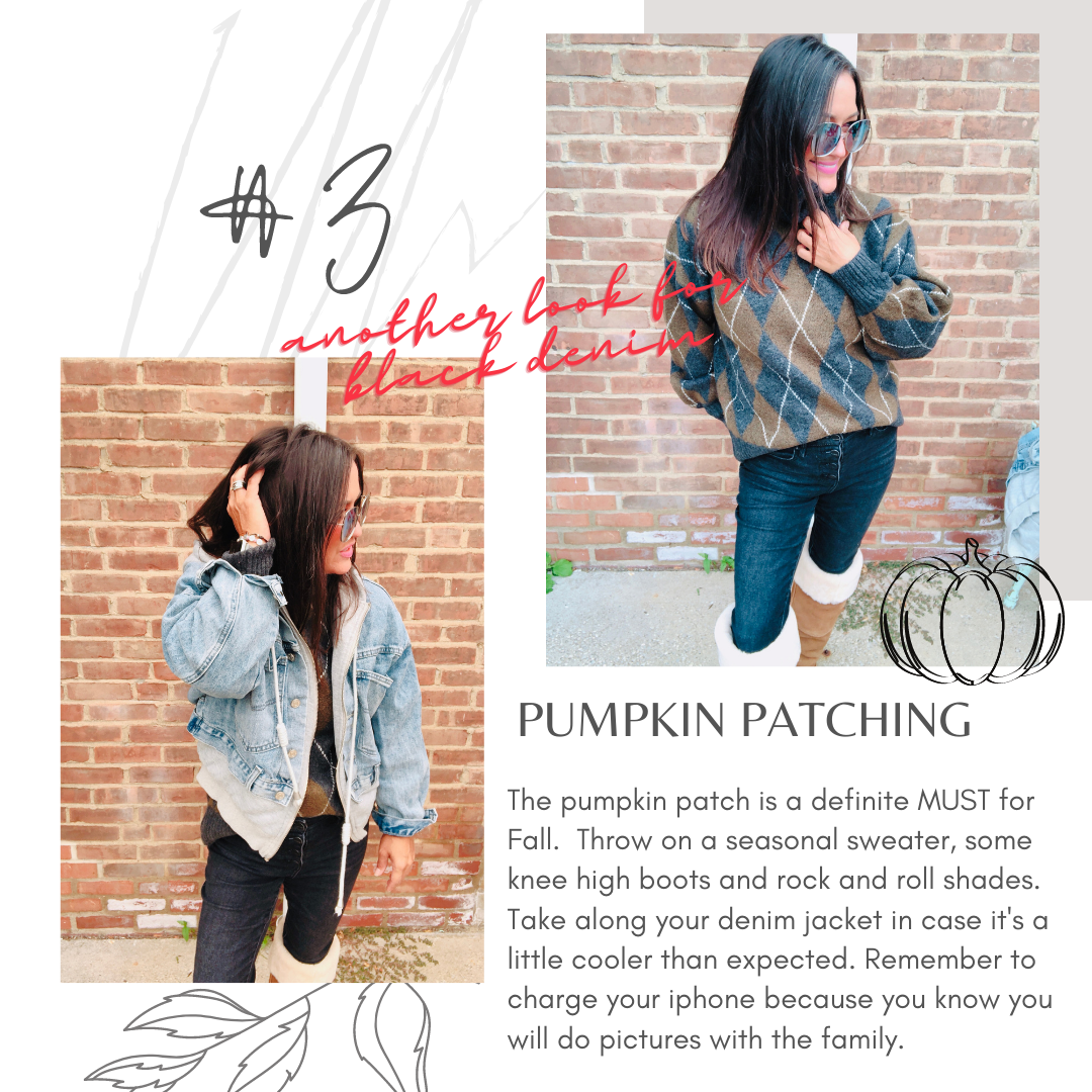 pumpkin patch outfit - black denim - fall fashion - fall must haves