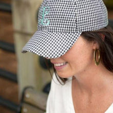 Load image into Gallery viewer, MONOGRAM HOUNDSTOOTH BASEBALL CAP / HAT - alliemdesignsboutique