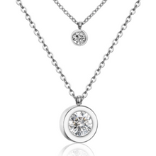 Load image into Gallery viewer, Stainless Steel Double Layer CZ Simple Necklace - alliemdesignsboutique