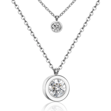 Stainless Steel Double Layer CZ Simple Necklace - alliemdesignsboutique