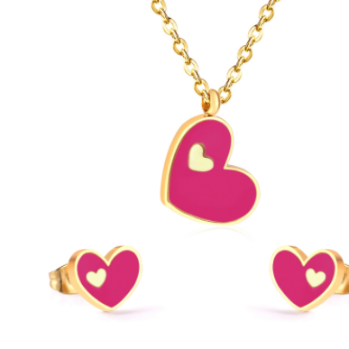 Pansy Pink Heart Necklace and Earring Set - alliemdesignsboutique